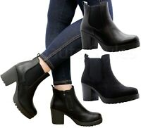 Ladies Block Chunky Heels Ankle Chelsea Boots Womens Zip Up Grip Sole Shoes Size