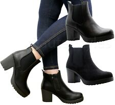 Ladies Chunky Sole Zip Block Heels Womens Chelsea Ankle Boots Winter Shoes Size