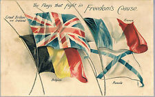 The Flags That Fight in Freedom's Cause. WW1 Postcard NO 10 - WN Sharpe Bradford