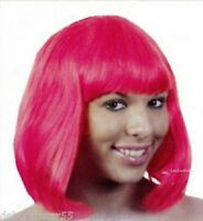 Pink Wig Pink Shoulder Length Bob Wig With Fringe Fancy Dress PINK WIG