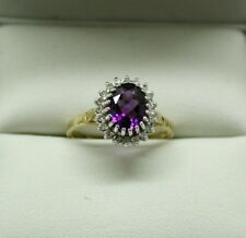 Beautiful 9 Carat Gold Amethyst And Diamond Cluster Ring Size N.1/2