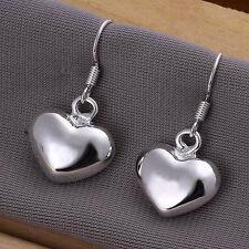 Hot 925silver Plt Drop Dangle Hanging Hook Earrings Hoop Ladies Womens 16 Styles Chunky Puffed Solid Love Heart