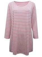 Marina Kaneva ladies t-shirt top plus size 16 18 20 22/24 26/28 pink stripe