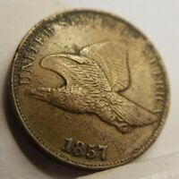 1857 Flying Eagle Cent XF or About Uncirculated Details Minor Env Damage AU