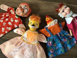 4 Vintage Hand Puppets Rubber Heads Baby Toy Fox Chicken Clown King Kitsch