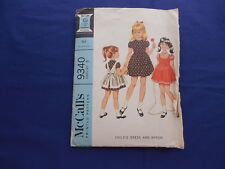 "Vintage McCall's Girls Dress & Apron Pattern Size 5 Breast 24"" #9340 1968"