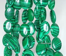 HEDGE MAZES MALACHITE GEMSTONE GREEN OVAL 16X12MM LOOSE BEADS 15.5""