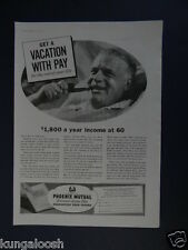 1937 GET A VACATION WITH PAY FOR THE REST OF YOUR LIFE...PHOENIX MUTUAL PROMO AD