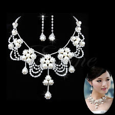 Sliver Jewelry Set Crystal Pearl Rhinestone Necklace Plated Earring For Wedding