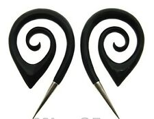 PAIR LONG HORN 6g (4MM) OVAL SPIRALS SILVER TIP PLUGS PLUG TALONS LONG GAUGES