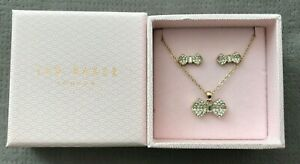 Ted Baker Pave Bow Stud Earrings & Pendant Necklace Set Gold Tone