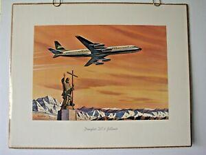 PAN AM AIRWAYS POSTER PRINT Douglas DC-8 Jetliner 1958 PANAGRA ORIGINAL #729
