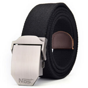 Mens Womens Ladies Thick Canvas Belts Casual Automatic Buckle Free Size UK Stock
