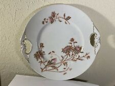 D&Co Delinieres Floral Decorated Double Handle Cake Plate Antique