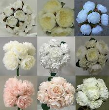 SILK PEONY PEONIES ROSES PRE MADE WEDDING BRIDAL BOUQUET ARTIFICIAL POSY FLOWERS