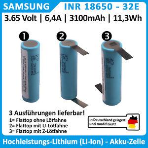 Samsung 18650 32E, Li-Ion Akku, 6.4A 3.65V 3100mAh, mit oder ohne Lötfahnen
