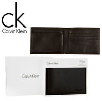 Clavin Klein Black Leather Passcase Bifold Wallet - Mens Credit Card RFID Holder