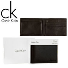 Clavin Klein Black Leather Passcase Bifold Wallet - Mens Credit Card RFID Holder
