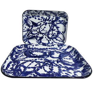 Set of 2 Blue & White Marble Effect Enamel Trays, Suitable for Display & Serving