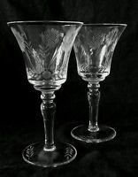 Elegant vintage cut glass WHEAT DESIGN wine glasses [set of 2], 6.5 inches