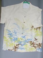 Tommy Bahama Men's 100% Silk Ivory Hawaiian Shirt Bird of Paradise XXL