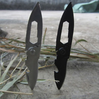 Multi Folding Hex Wrench Knife Keychain Bottle Opener Pocket Steel Tool Black