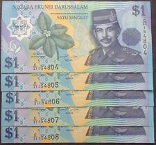 Brunei $1 polymer  C31 154804 - 808 cons nos 5 pcs 2007 unc