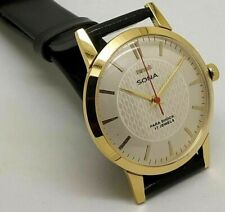 hmt sona hand winding men's gold plated white dial 17 jewels vintage watch