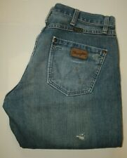 Wrangler Boot Cut Distressed & Faded( by Wrangler ) Blue Denim Jeans W 32 L 34