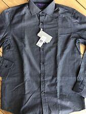 Ralph Lauren Purple Label Giza Cotton Diamond Blue Graphite Shirt 15.5 Italy
