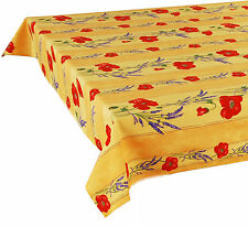 """60"""" x 60"""" Square COATED Provence Tablecloth - Poppy Yellow"""