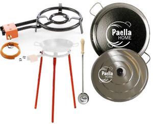 50cm Original Paella Pan Set + 35cm Gas Burner + Lid + Stainless Steel Spoon