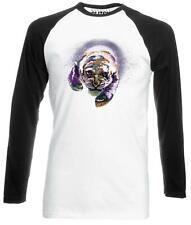 Space Tiger Long Sleeve Baseball Men's T-Shirt Neon Bright Cat Predator Animals