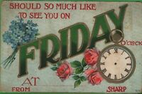 Unique Vintage Postcard Would So Much Like to See You Friday Violets Roses Clock