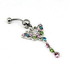 butterfly Mixed Color Rhinestone Jewelry Navel Body Piercing Belly Button Rings