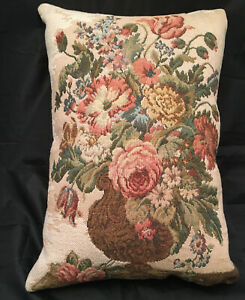 """CLOSE-OUT SALE: Handmade 17"""" x 12"""" THROW PILLOW Vintage Italian Tapestry & Suede"""
