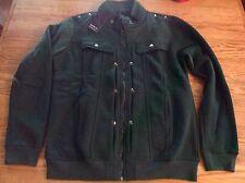 Doublju Mens Long Sleeve High Neck Slim Fit Green Full Zip Jacket Size Large NWT