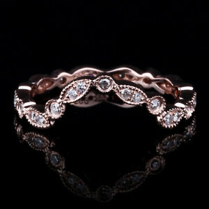 Solid 14K Rose Gold Ring Fine Jewelry Wedding Anniversary Band Natural Diamond