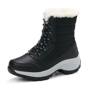 Winter High Top Warm Fur Lined Snow Boots Casual Lace Up Anti-Slip Women Booties