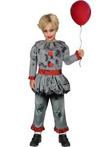 Childs Bad Clown Fancy Dress Halloween Costume Circus Horror Scary Boys Kids