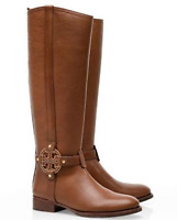 EUC TORY BURCH AMANDA EQUESTRIAN BROWN LEATHER RIDING BOOTS SIZE 6.5