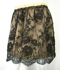 Zara Woman Mini skirt S small Banded Lace Solid Black Cream Lining Party