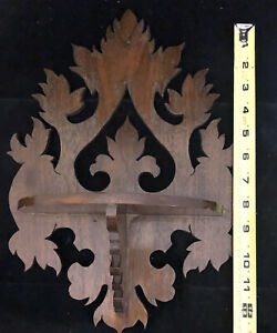 Vintage Hand Carved Ornate Wood Wall Hanging Shelf *b148