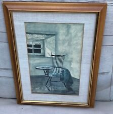 Andrew Wyeth Early October Dry Brush 1961 ANDREW WYETH WRITING CHAIR FRAMED