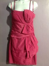 MAXANDCLEO FORMAL SOLID BERRY SPAGHETTI STRAP KNEE LENGTH POLYESTER DRESS SZ 6