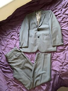 "Mens Hugo Boss Suit 100% Wool Designer Full Suit 42"" Chest 36"" Waist 36/32 Movie"
