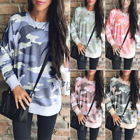 Womens Oversize Camo Pullover Sweatshirt Loose Tunic Casual Blouse T Shirt Tops
