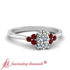 Platinum Oval Shaped Diamond And Ruby Gemstone Delicate Engagement Ring 0.60 Ctw