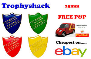 School Council Shield Enamel Badges - Free P&P 4 colours Red Blue Green Yellow
