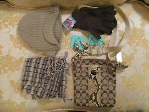 Brown and beige Snakeskin Coach Crossbody Handbag, Scarf, Gloves, Hat & Earrings